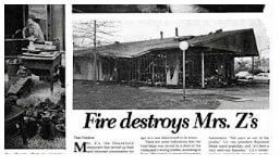 "new paper clipping about ""Fire destroys Mrs. Z's"""