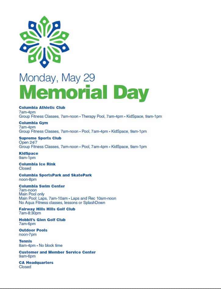 Memorial Day Holiday Hours 2017