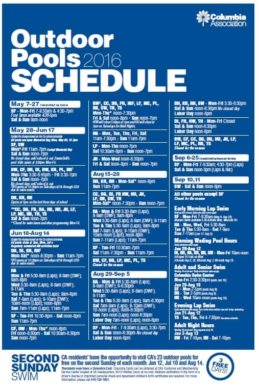 Outdoor pool schedules columbia association - River park swimming pool schedule ...