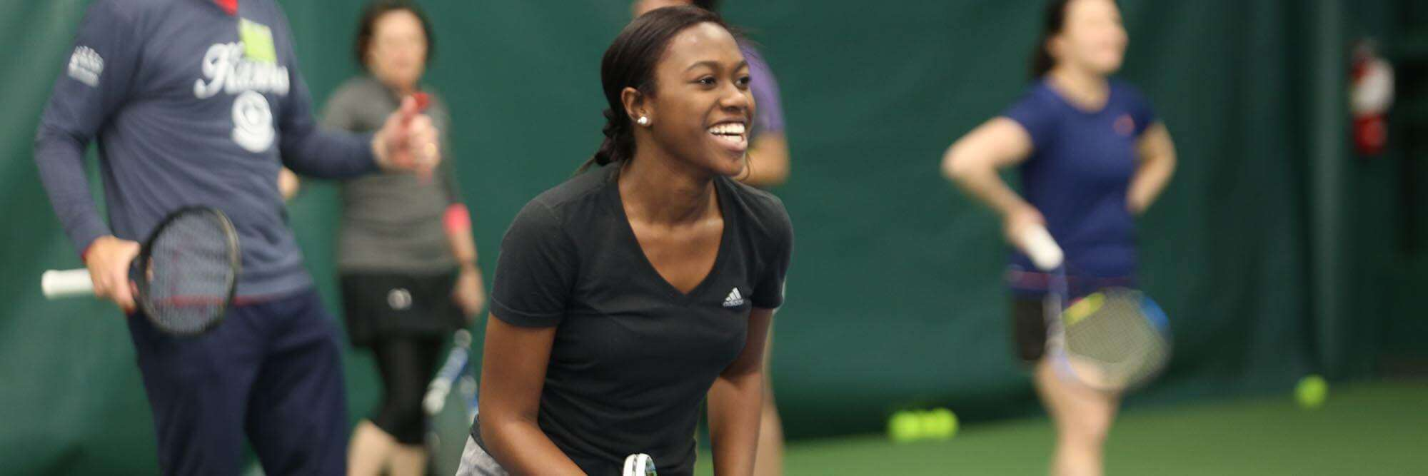 Tennis Banner Image With Black Female Columbia Association