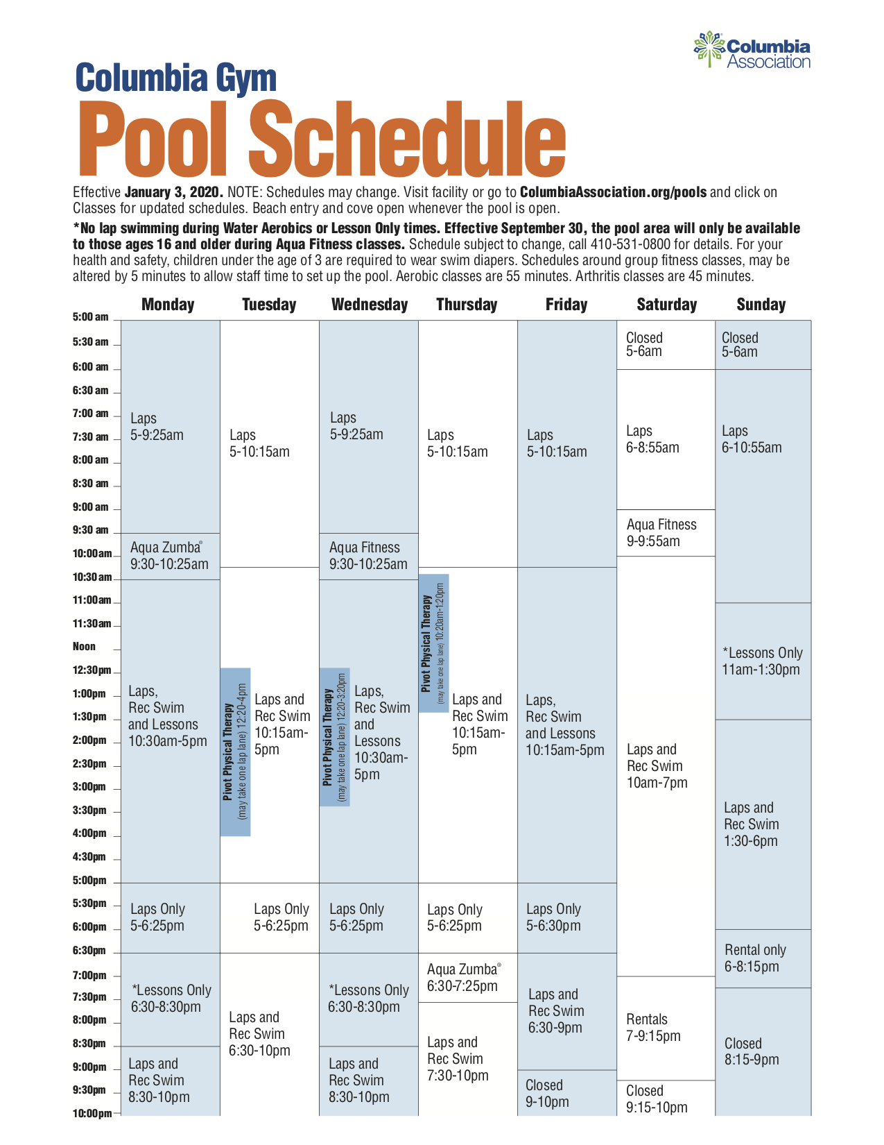 Columbia Gym January pools schedule