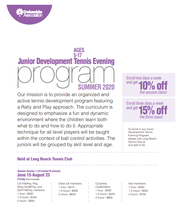 junior development 2020 summer program