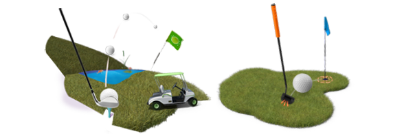 golf course, club and cart