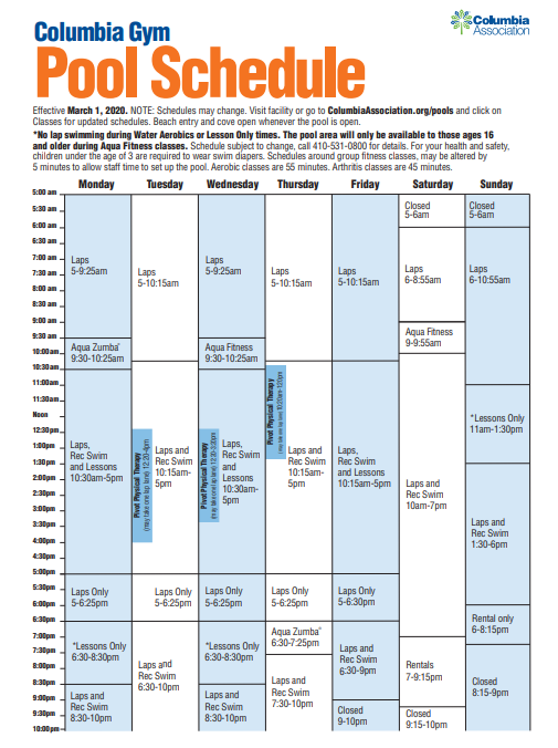 Columbia Gym Pool schedule