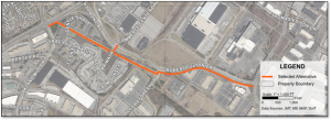 The proposed design for the Robert Fulton Drive shared-use pathway.